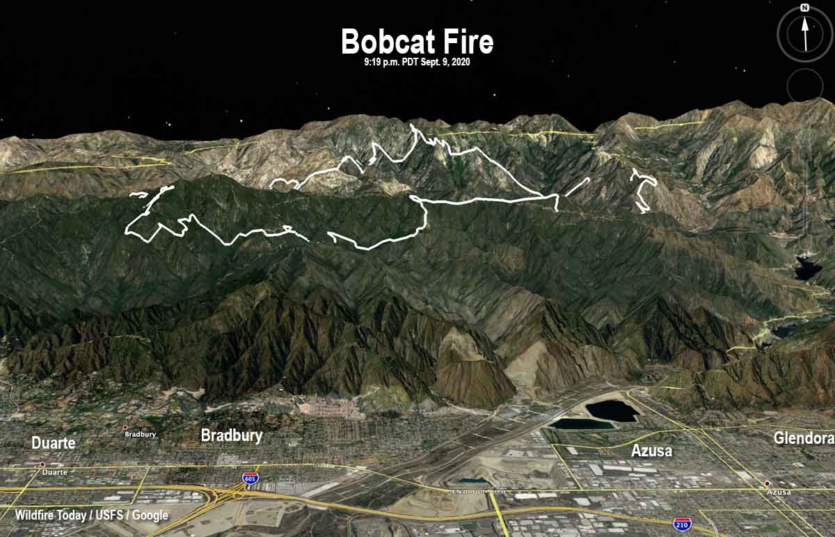 map Bobcat Fire Los Angeles California wildfire