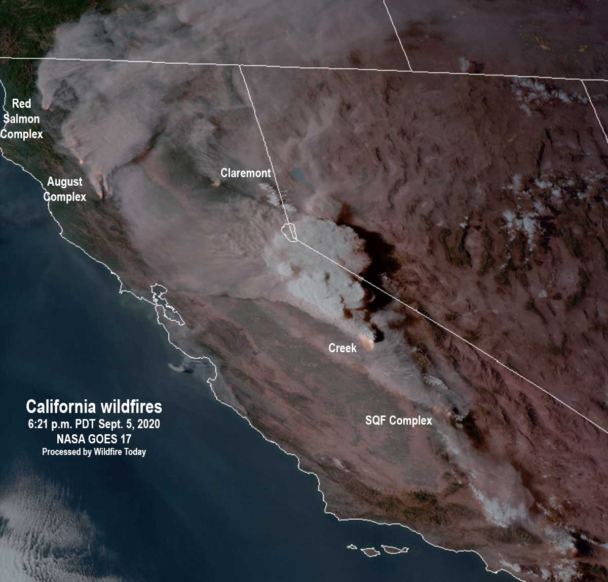 Satellite photo showing smoke from fires in California