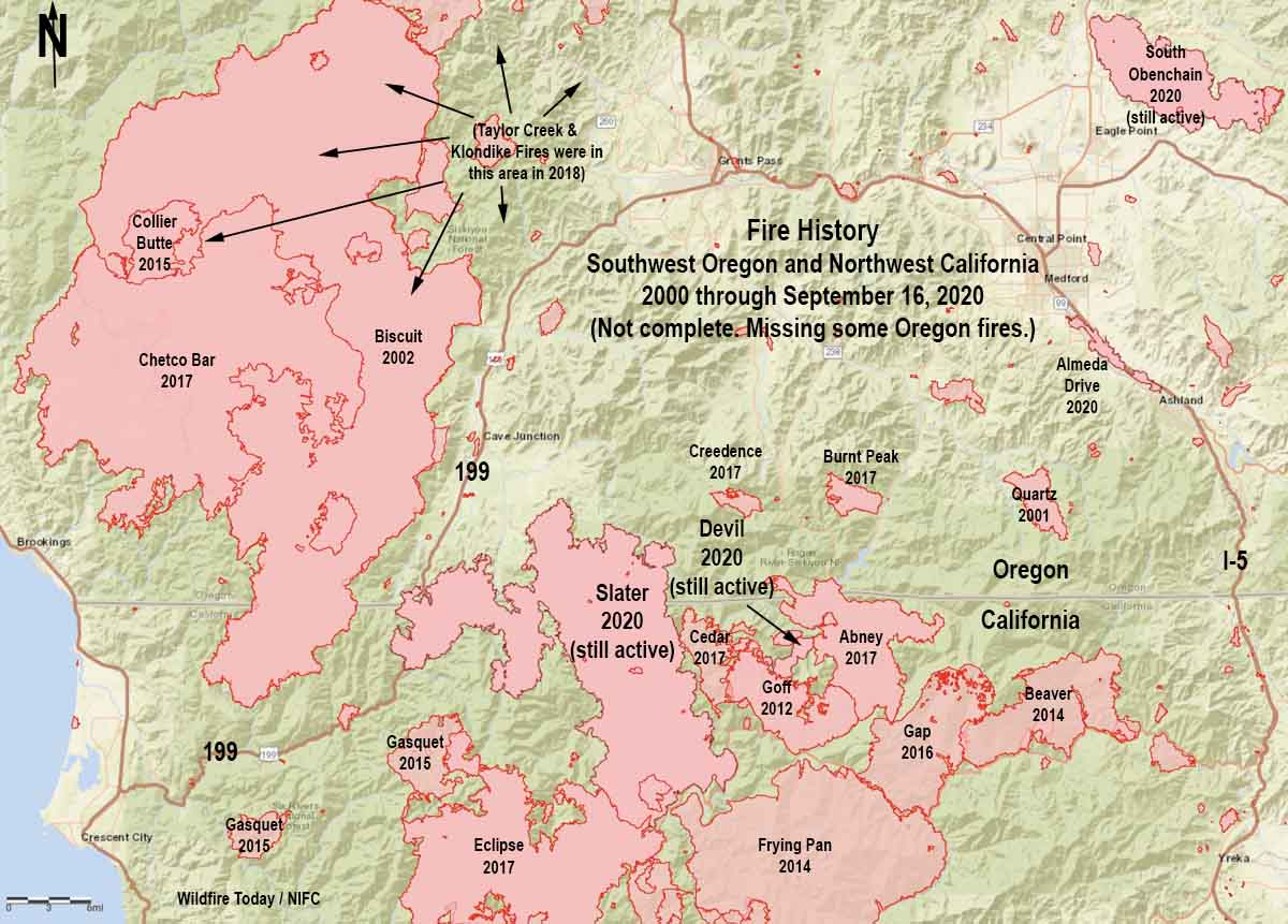 map history of fires in Northwest California and Southwest Oregon