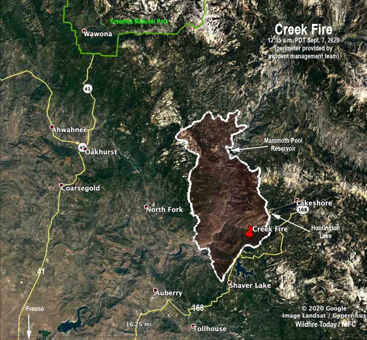 Map of the Creek Fire 12:05 a.m. PDT Sept. 7, 2020