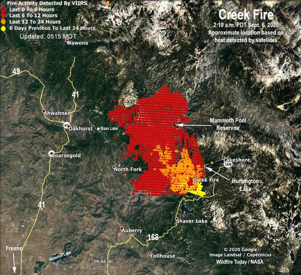 map of Creek Fire California