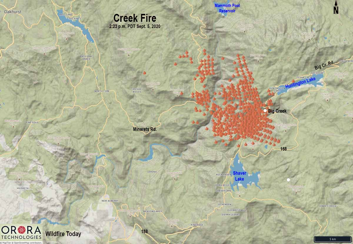 map Creek Fire California Huntington Lake