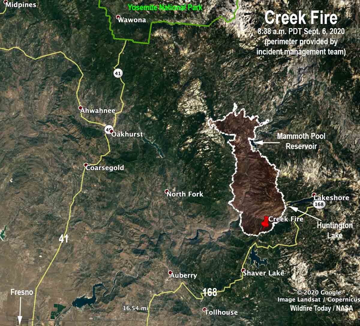 Map of the Creek Fire