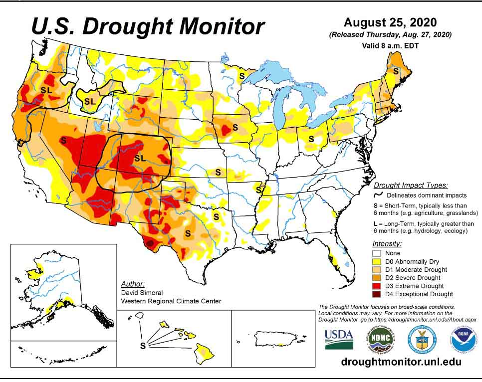 Drought Monitor, August 25, 2020