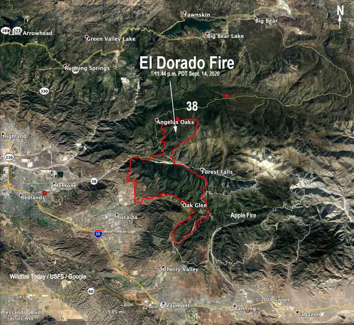 map of the El Dorado Fire