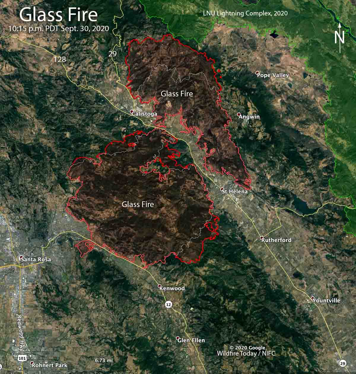 Map of the Glass Fire at 10:15 p.m. PDT Sept. 30, 2020
