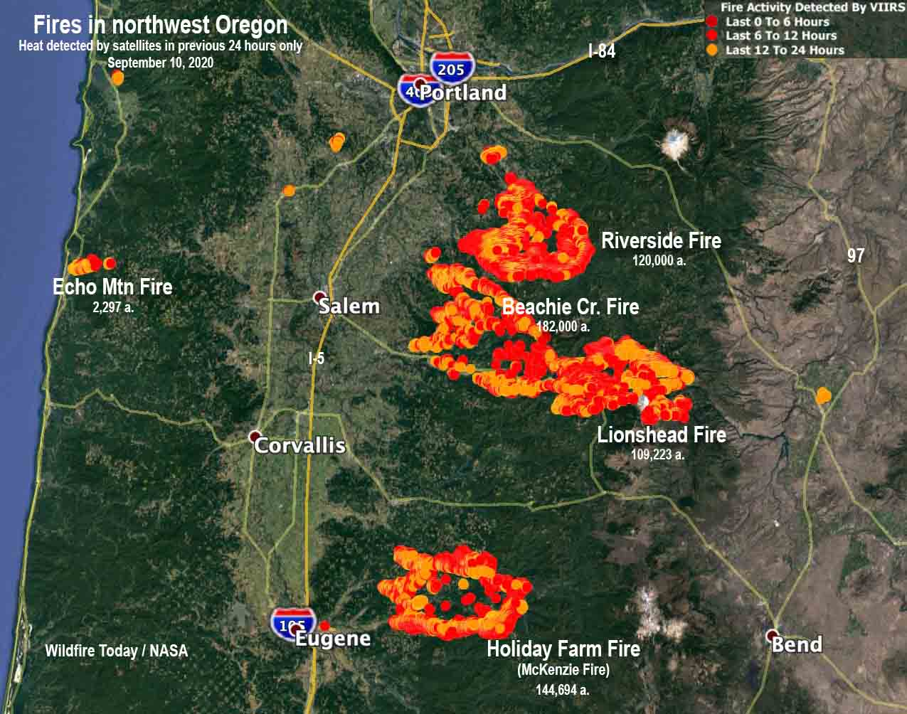 map fires Oregon Portland