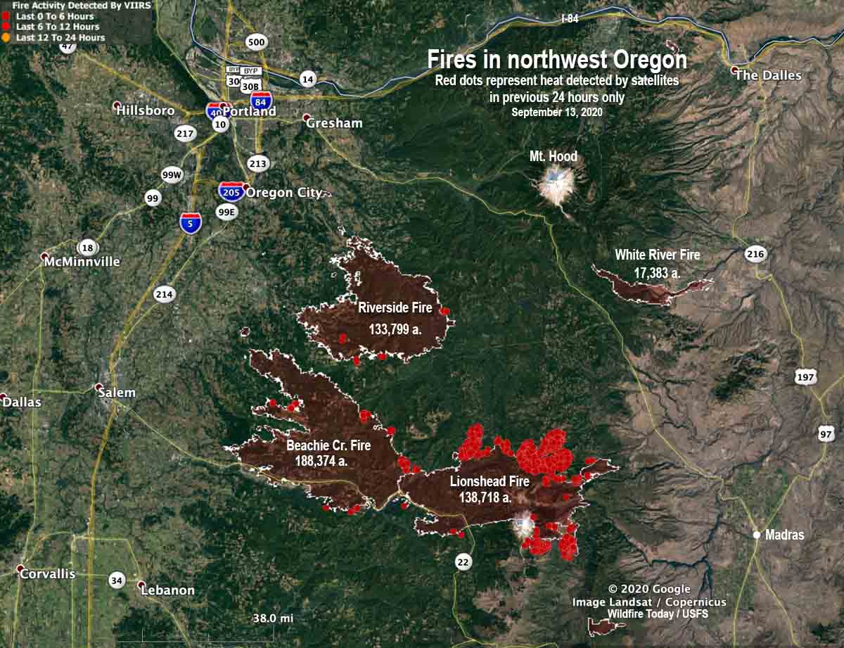 Map of fires in northwest Oregon, September 13, 2020 Riverside Beachie Creek Lionshead
