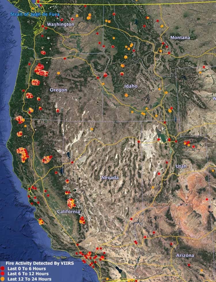 Map heat wildfires western U.S.