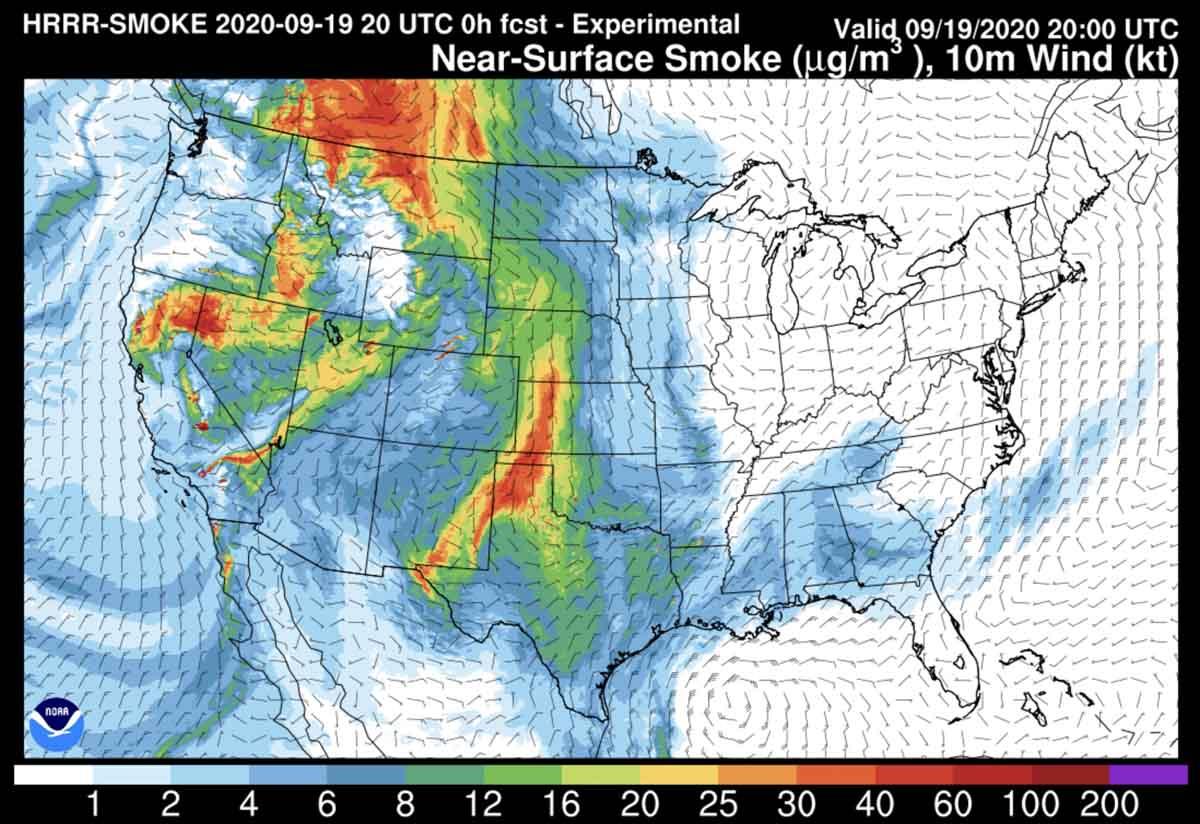 fires Near-surface smoke, at 2 p.m. MDT September 19, 2020