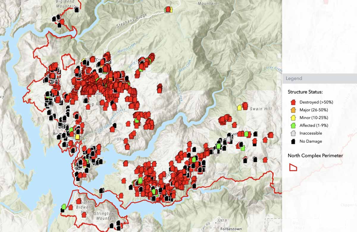 North Complex, preliminary map of structures assessed for fire damage