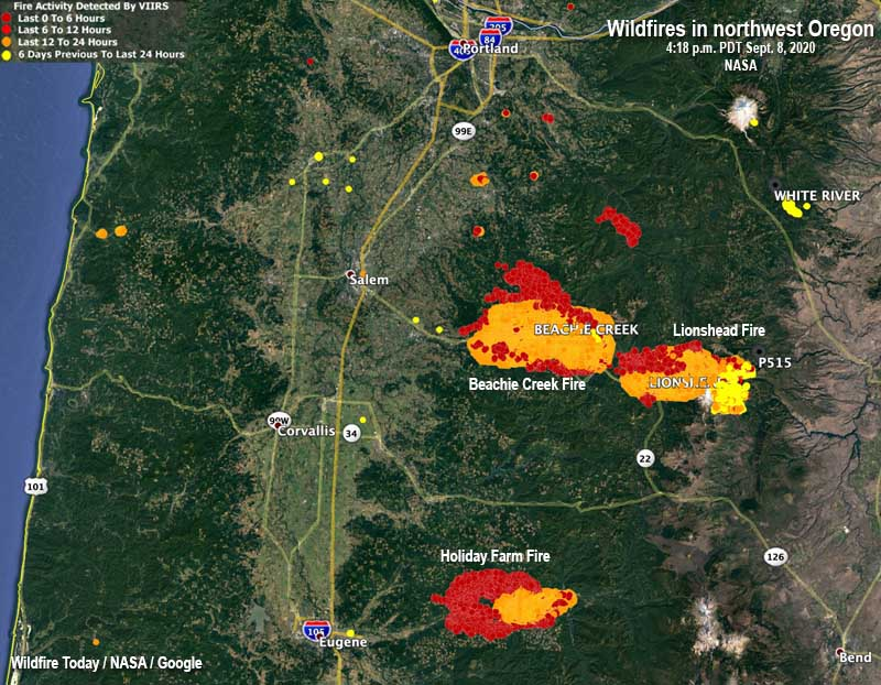 map wildfires in northwest Oregon