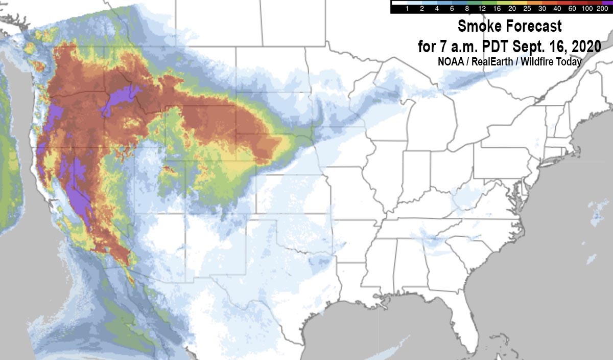 Smoke Forecast for 7 a.m. PDT Sept. 16, 2020