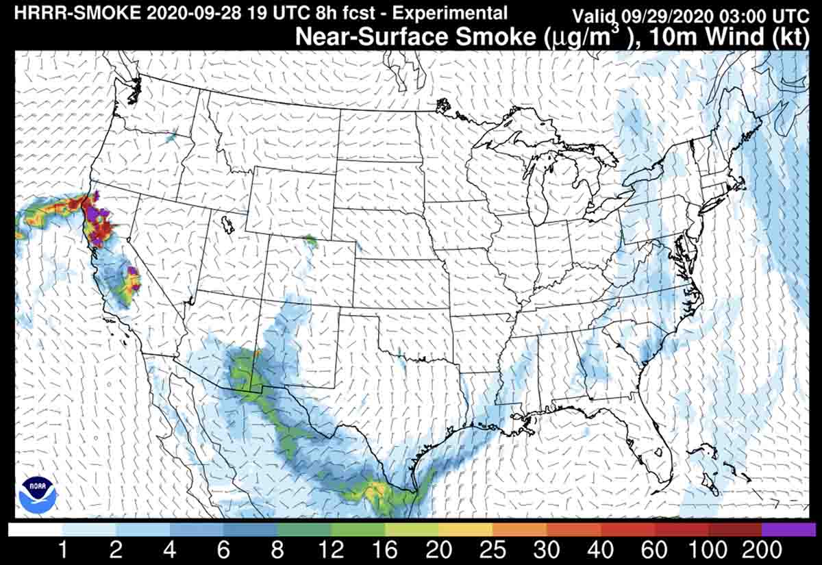 Forecast for wildfire smoke