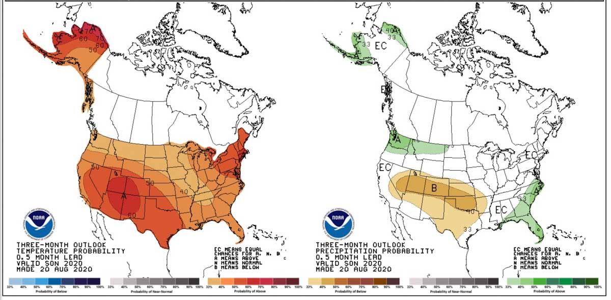 Temperature and precipitation outlook, Sept., Oct., & Nov, 2020.
