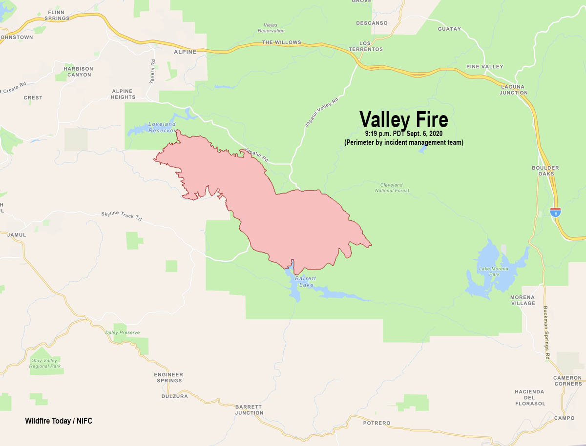 Map of the Valley Fire