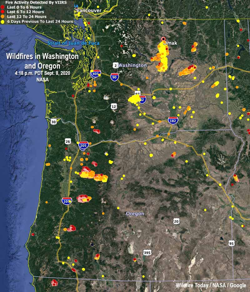 map wildfires in Washington and Oregon