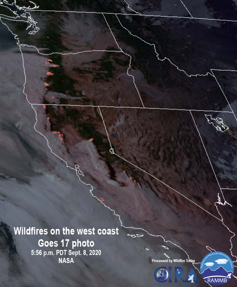 satellite photo fires smoke Washington, Oregon, and California