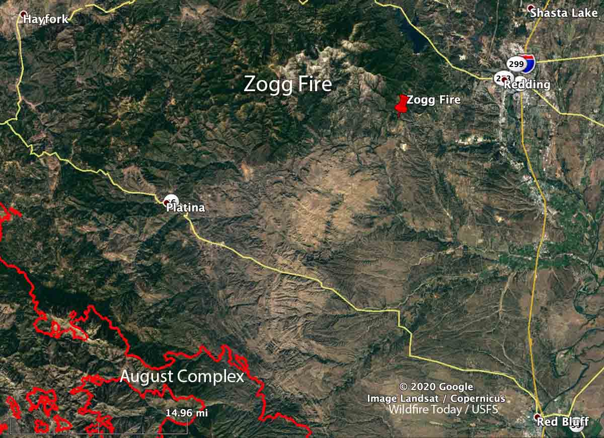 map Zogg Fire California Redding