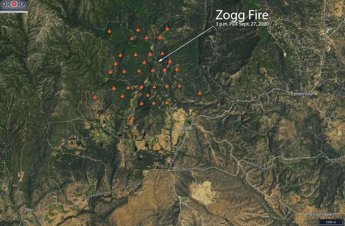 Zogg Fire map