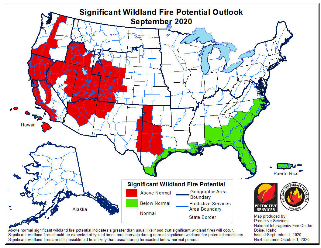 Wildfire potential September, 2020