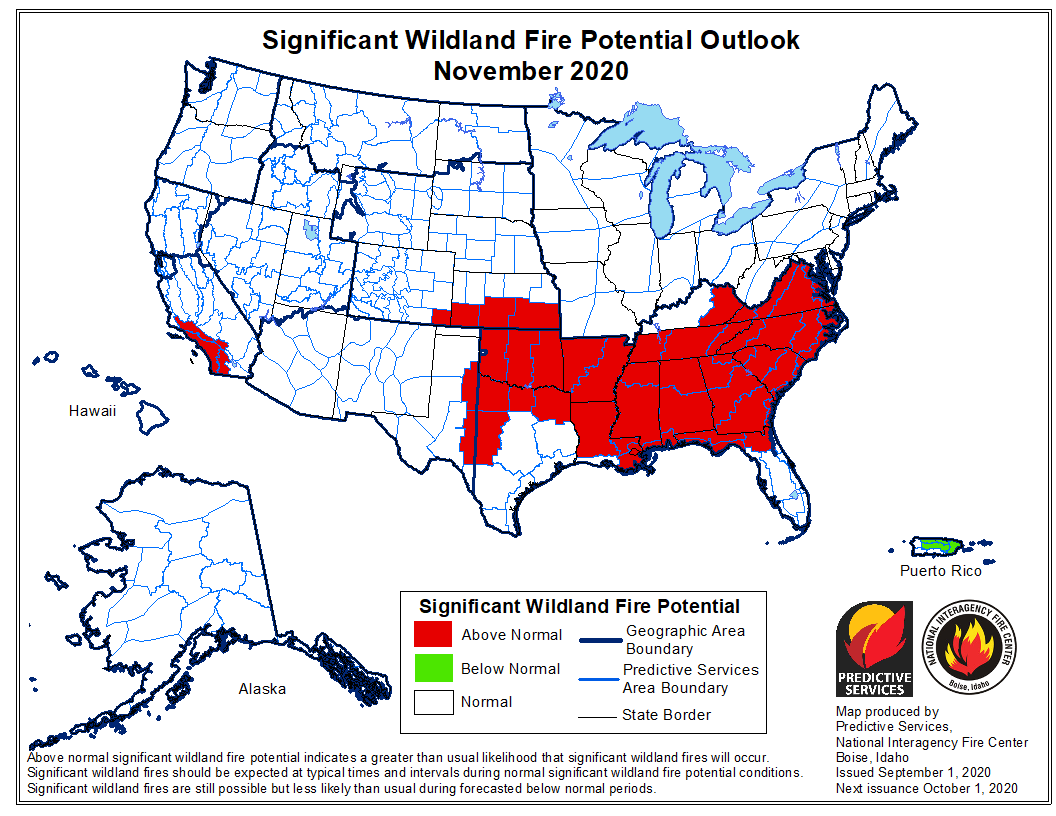 Wildfire potential November, 2020
