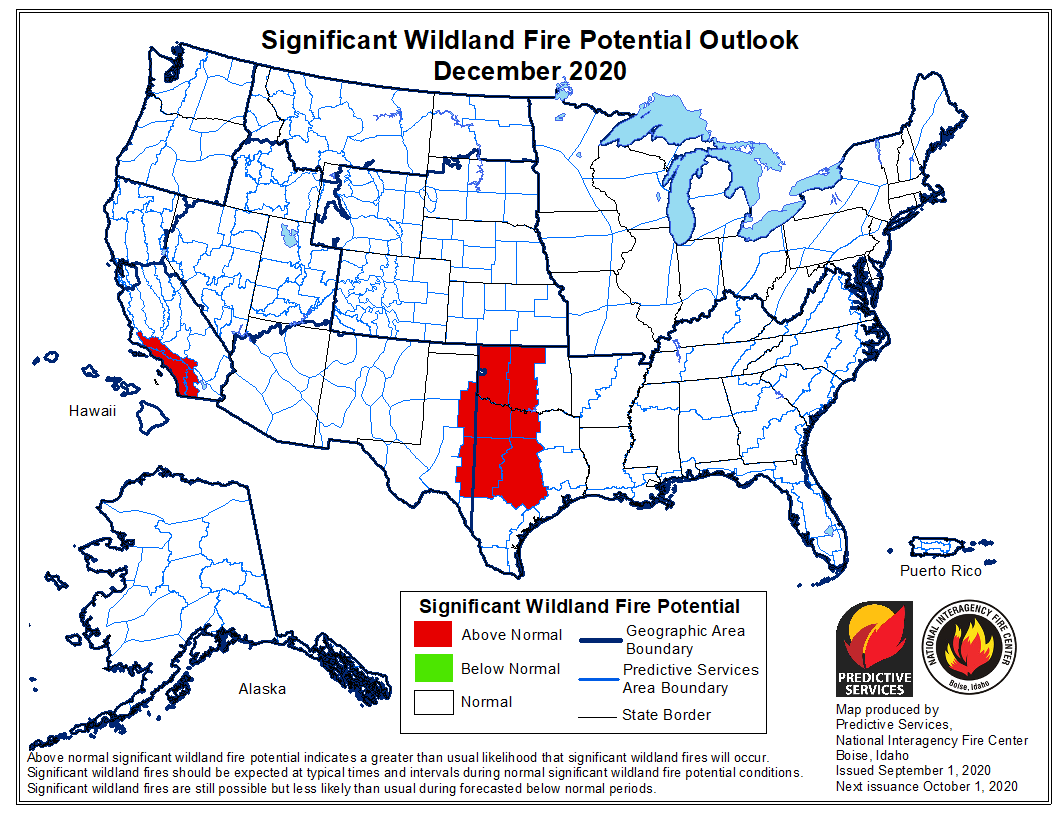 Wildfire potential December, 2020