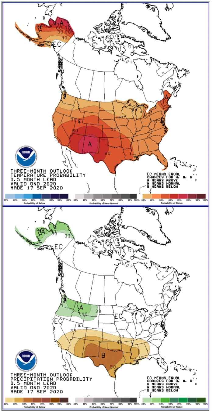 90-day temperature and precipitation outlook