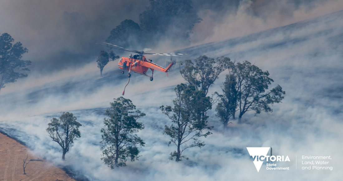 Australia Air-Crane helicopter fire