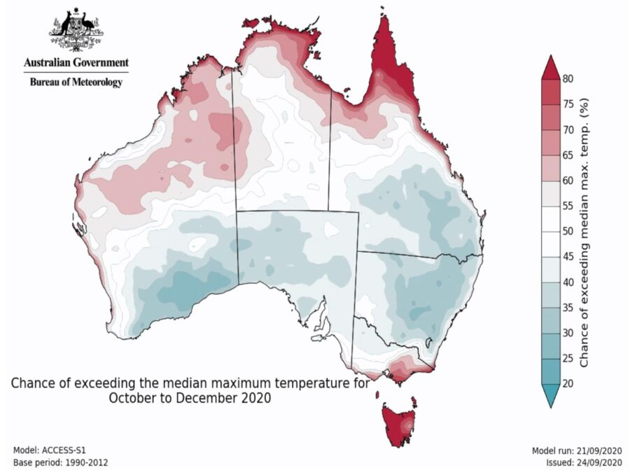 Australia temperature outlook, October through December, 2020