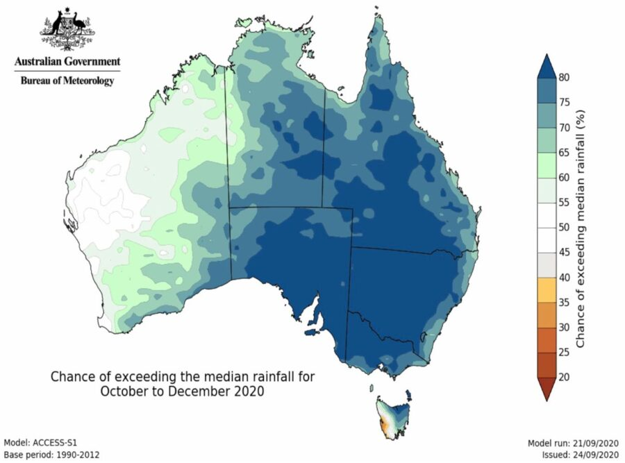 Australia precipitation outlook October through December, 2020