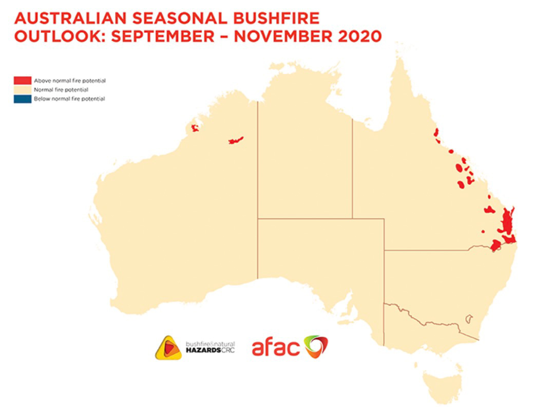 Australia fire outlook September through November, 2020