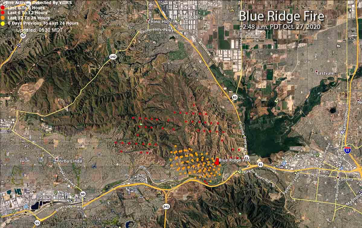 map of the Blue Ridge Fire