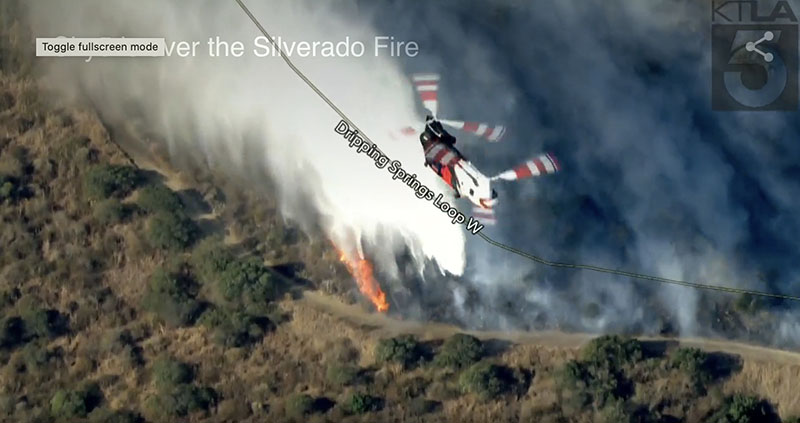 CH-47 dropping water on the Silverado Fire
