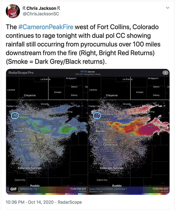 Cameron Fire pyrocumulus radar
