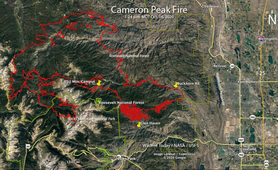 Map Cameron Peak Fire Colorado