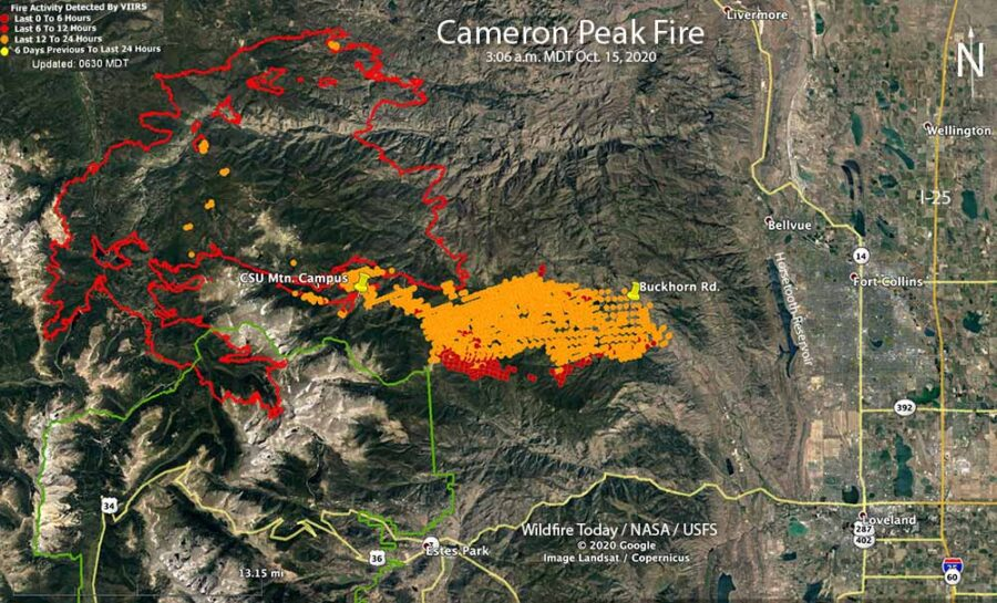 Map of the Cameron Peak Fire 3:06 a.m. MDT October 15, 2020