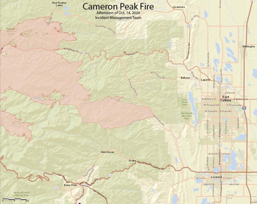 Map Cameron Peak Fire, Oct. 14, 2020