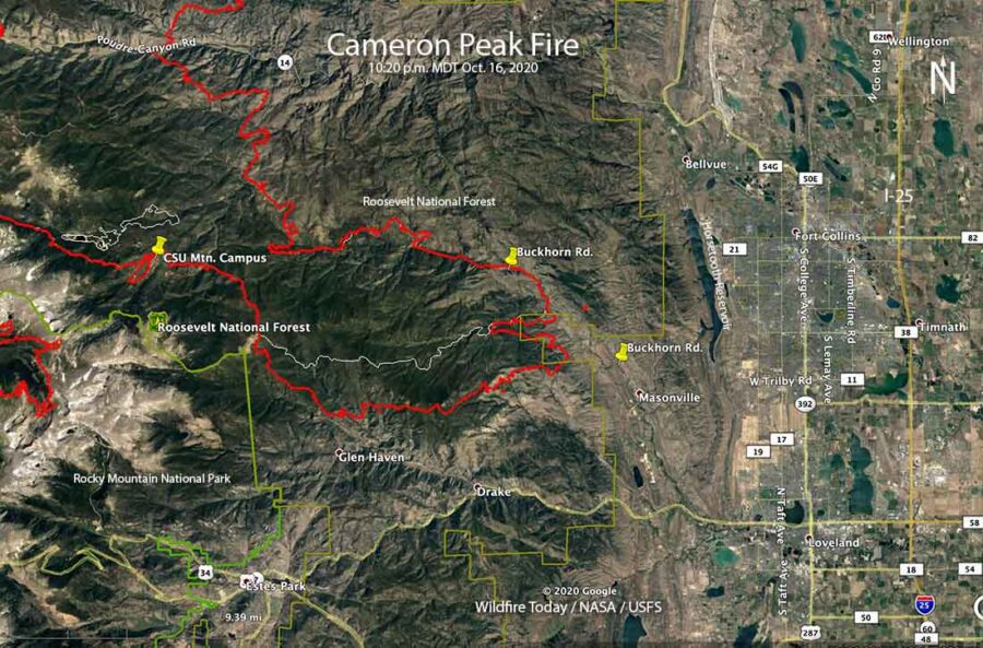 Cameron Peak Fire map