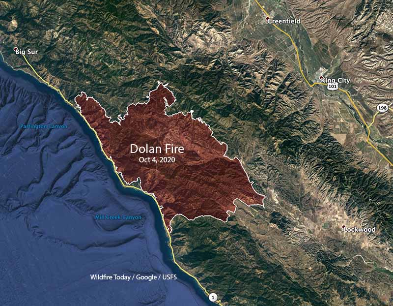 Map of the Dolan Fire October 4, 2020