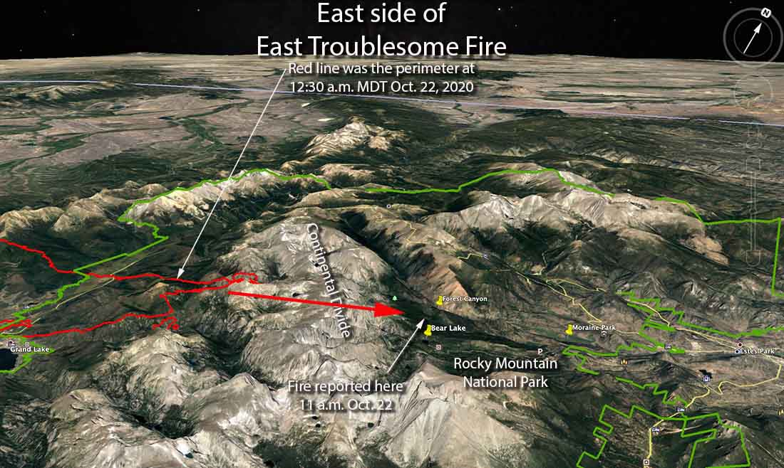 map east side of the East Troublesome Fire