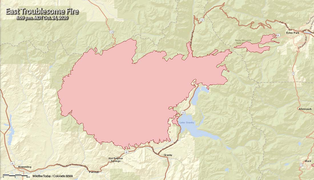 Map of the East Troublesome Fire