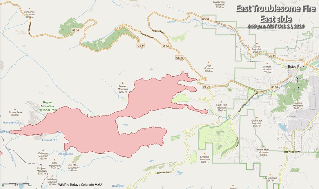 Map of the east side of the East Troublesome Fire near Estes Park