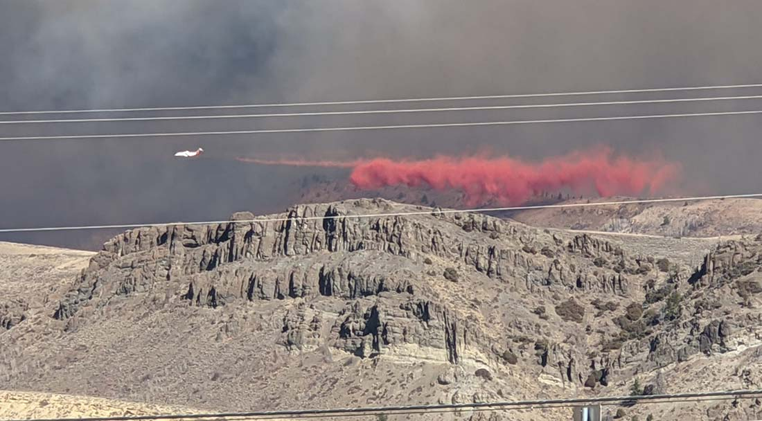 retardant drop on the East Troublesome Fire