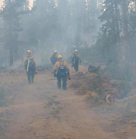 Firefighters on the Mullen Fire