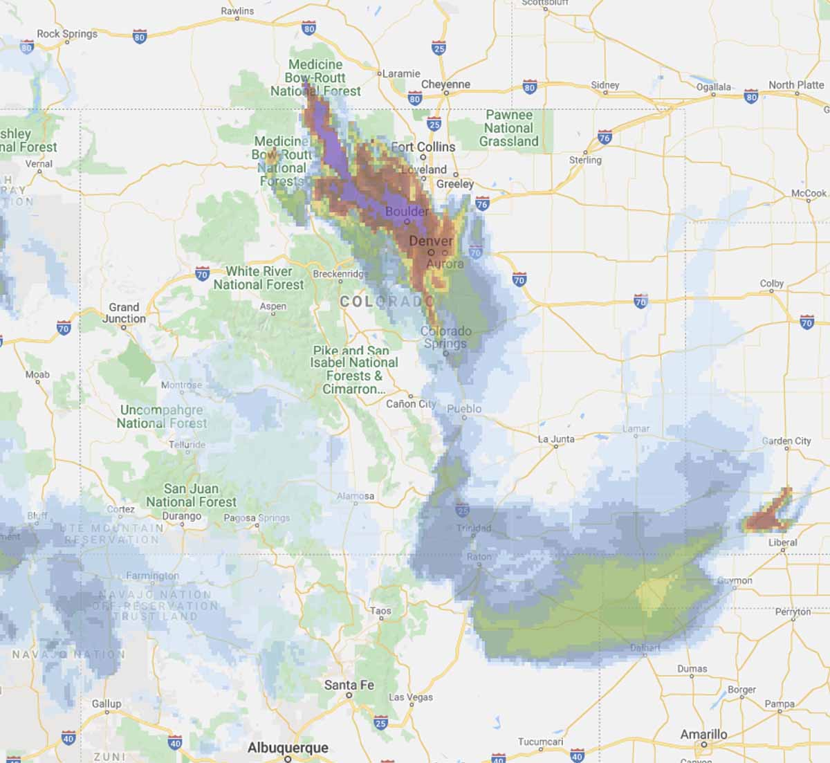Forecast for wildfire smoke Colorado