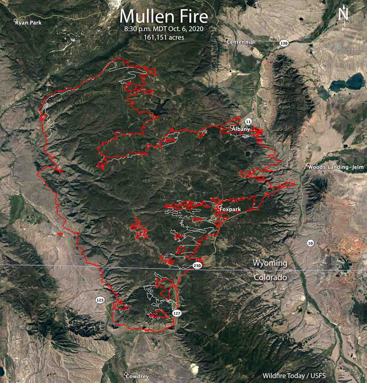 map of the Mullen Fire