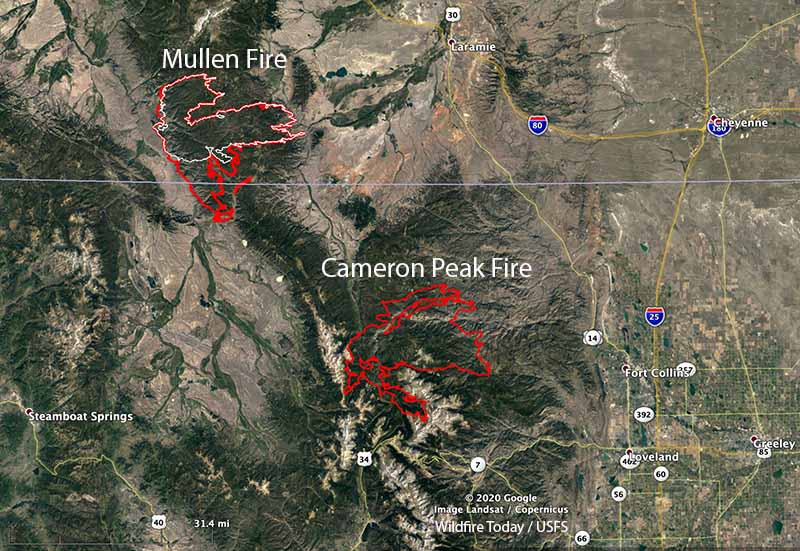 Map of the Mullen and Cameron Peak Fires