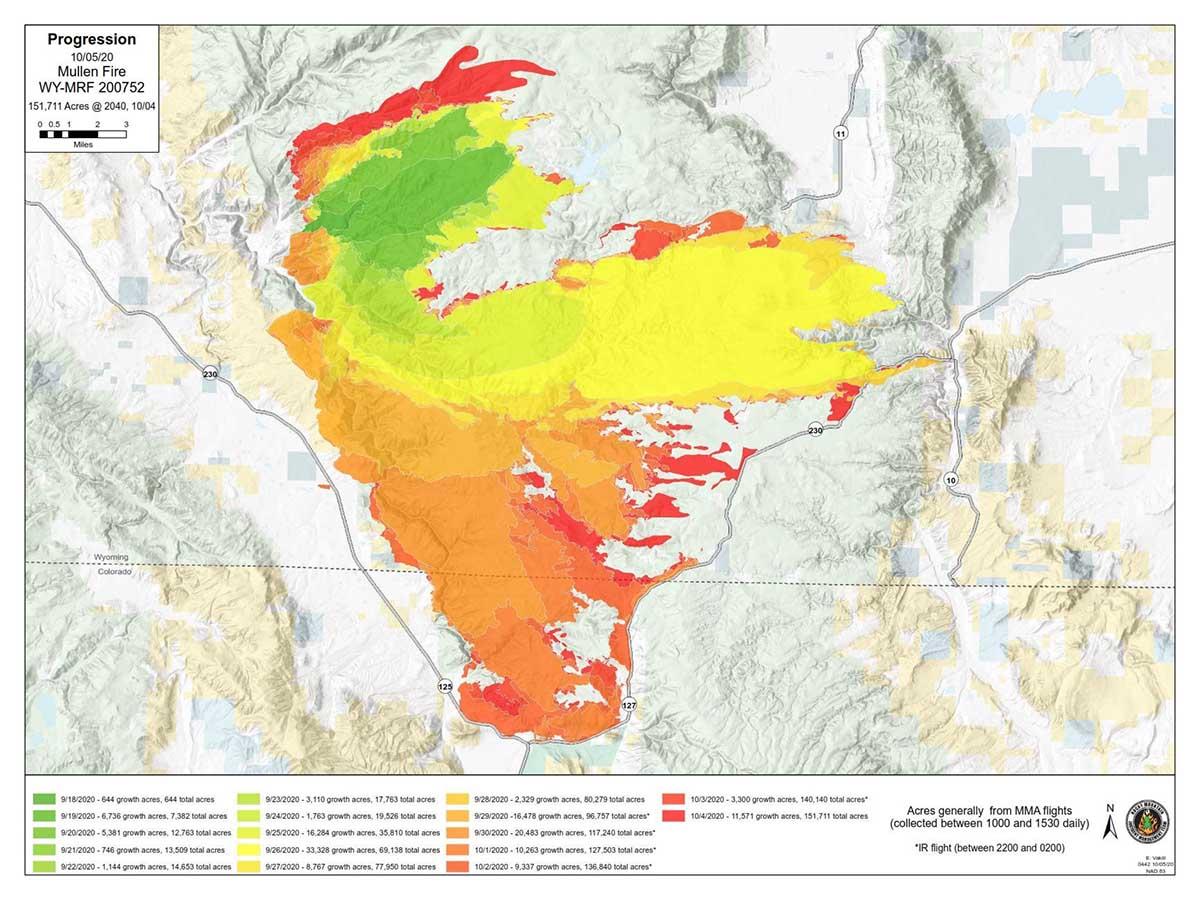 Progression of Mullen Fire, Oct. 5, 2020