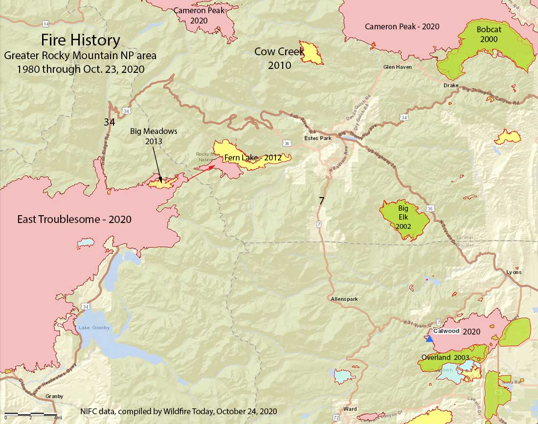 Map of the Fire history of Rocky Mountain National Park